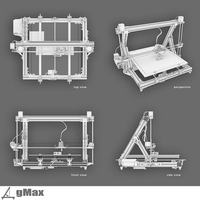The gmax 3d printer print bigger by gordon laplante for 3d printer build plans