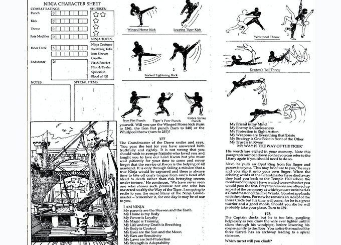 The original 1980's gamebooks of The Way of the Tiger, interiors.