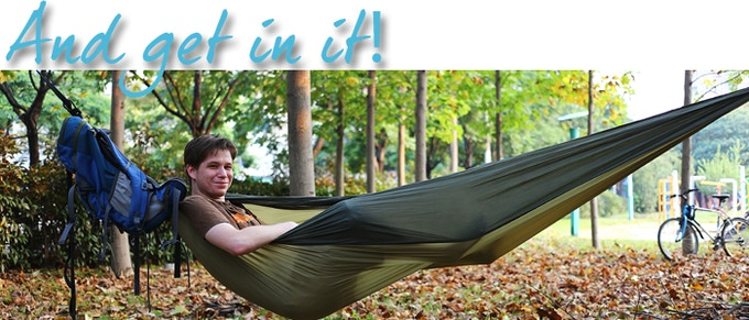 When you are ready to go, just pack it up. - HackedPack: The Hammock-Backpack By Nick Scroggs — Kickstarter