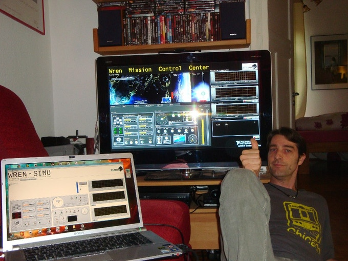 Sacha posing for WRENs mission control center