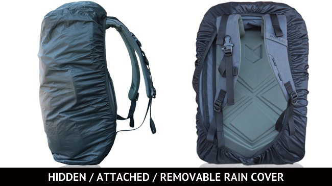 Down on the underside of your bag, there's a tiny zip with a rain cover inside. Because it's attached to the bag by a clip, it's fast to pull on. If you don't need it, unclip it, stuff it into itself and leave it behind. Yeeeeeah.