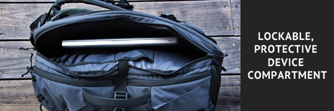 Keep your gadgets safe, but within easy side-access reach in the separate, secure electronics compartment. Your device is suspended in a neoprene sleeve, so no matter which way you put the bag down, your valuables won't hit the ground.