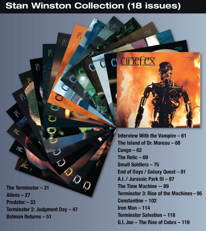 For the $60 backer level, you will be able to download to your iPad, these 18 issues of Cinefex on Stan Winston.
