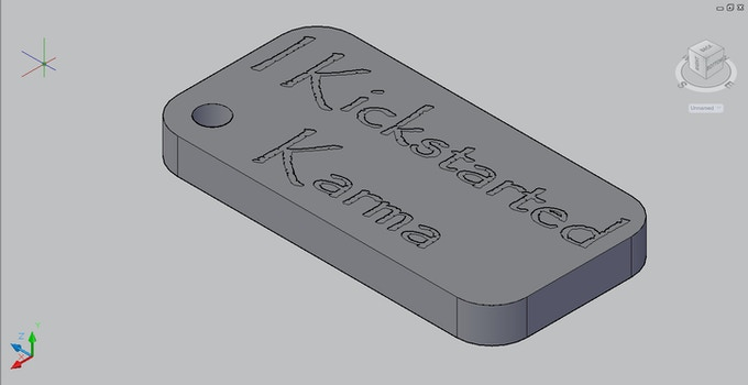 "CAD drawing of an ""I kickstarted Karma"" keyring. The final design may be a little different."