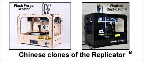 Low-cost clones of the Replicator: The Flash Forge Creator, and the Wanhao Duplicator 4
