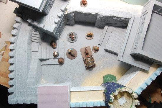 Overhead view of the courtyard.  I have placed some of the Dwarfs within the courtyard to give you an idea of the size and play area of the courtyard.  I should also note that the courtyard will be patterned with one inch squares