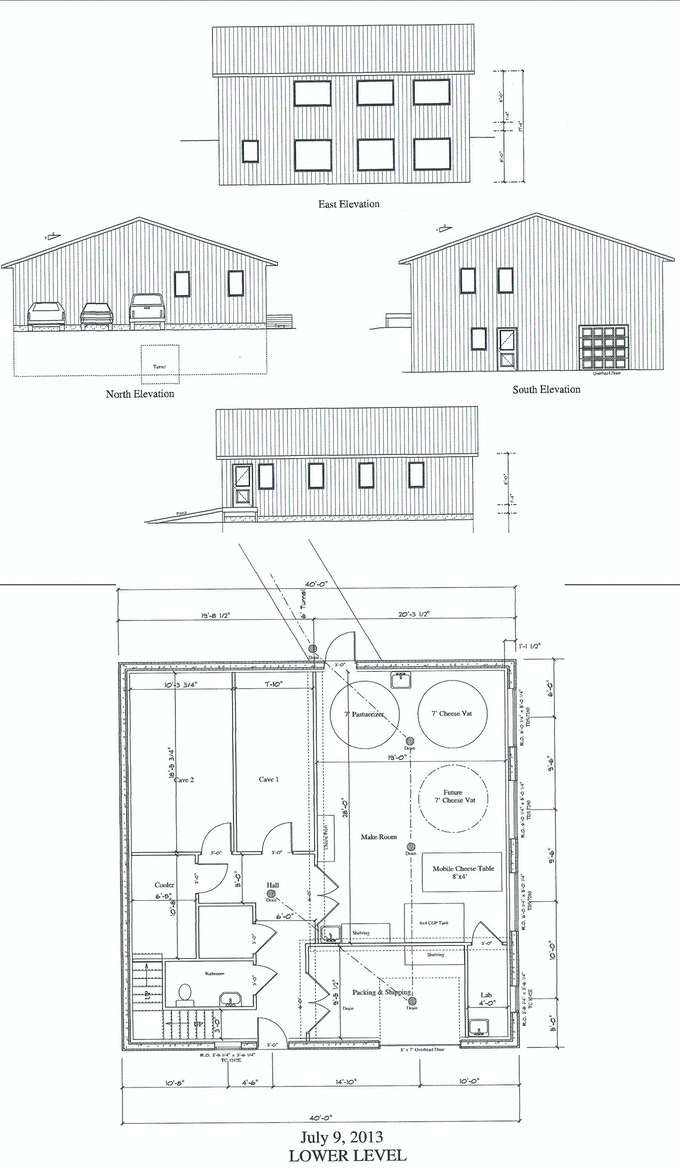 Redhead Creamery blueprints, the side with windows faces the pond!