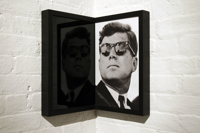 JFK, digital print on canvas with black mirror and custom corner frame, 2007. Installation view John Connelly Presents, NY