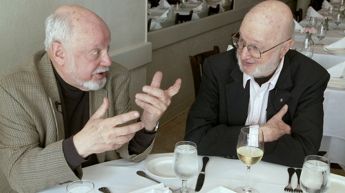 Author Norton Juster and Illustrator Jules Feiffer at lunch in Brooklyn Heights