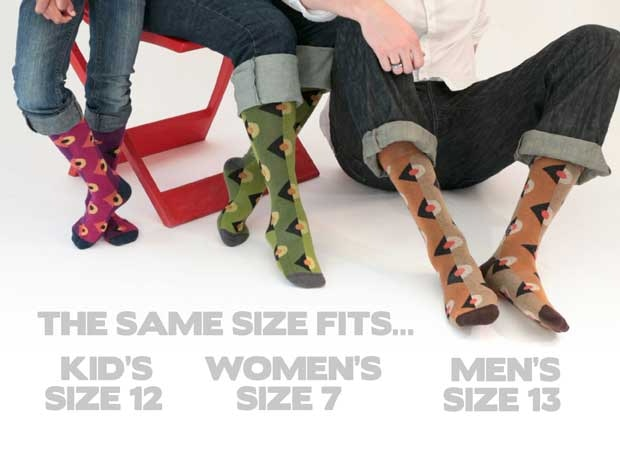 The colors are different, but the sock is the same. US shoe sizes.