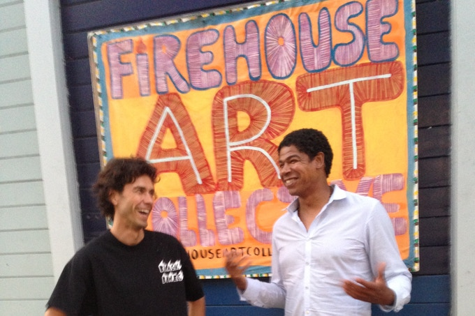 Tom and Rasa enjoying a laugh at the firehouse!