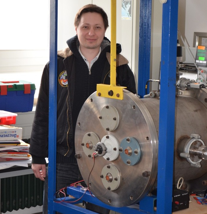 Paul posing after successful high vacuum test of WRENs pulsed plasma thrusters