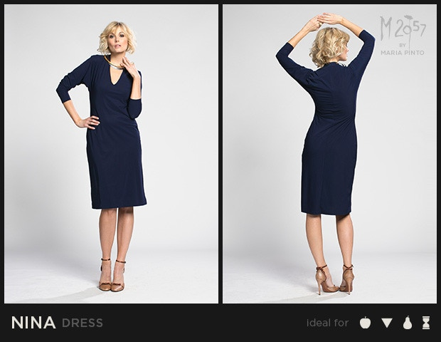 "V-neck shift dress with ¾ sleeve / Liquid jersey with a ""2nd skin"" slip / Waist to hem: 25"" / Shown here in Midnight / $250"