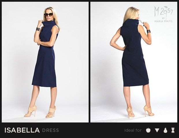 "Sleeveless shift dress with a funnel neck and cut edges / Form jersey / Waist to hem: 25"" / Shown here in Midnight / $250"