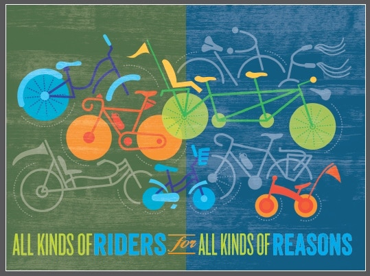 They're sure to read a note on these beautiful cards! All Kinds of Riders for All Kinds of Reasons (Image COPYRIGHT 2013 Bicycle Alliance of  WA. Created by Sharon Dean, Creative Accomplice, Seattle.)