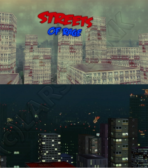 Example of the 3-D effects I will use for the establishing shot and other exterior shots.