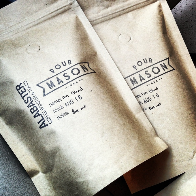 Pour Mason blend coffee by Alabaster Coffee Roaster & Tea Co. Micro-roasted in the mountains of PA.