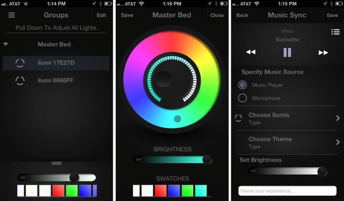 some screen shots of the ilumi app in progress
