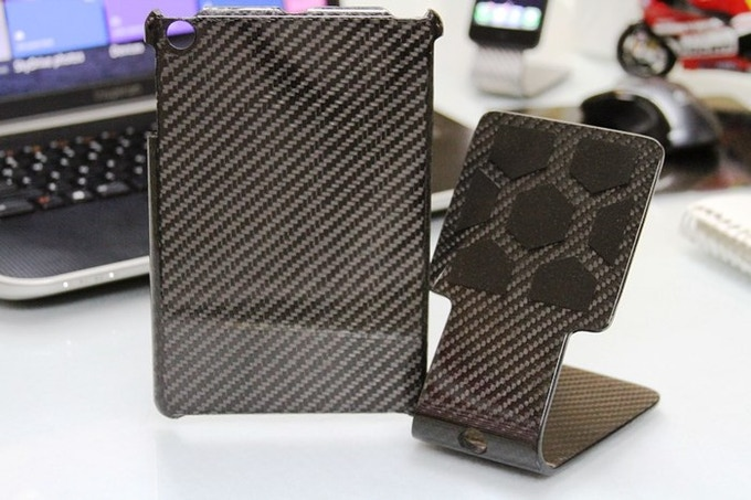 Real Carbon Fiber FS Armor (iPad mini armor shown) and Stealth FS-8 Stand