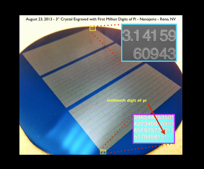 "#nanojemspiproject million digits of pi engraved on a 3"" crystal on Friday August 23, 2013 (The larger image is an optical image of the crystal, the two insets are, 1)  an electron microscope image of the 3.14.., and 2) an optical image of the last digit)"