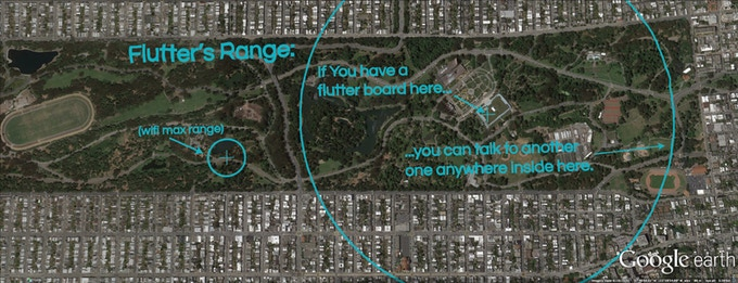 Flutter's range superimposed over Golden Gate park