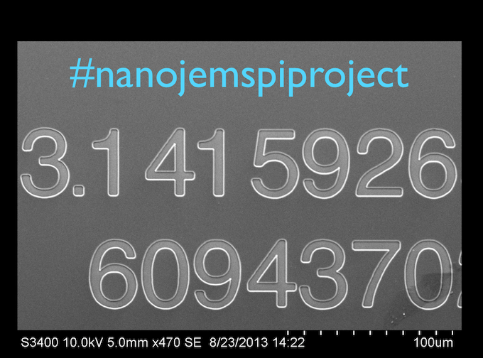 #nanojemspiproject scanning electron microscope zoom-in image of the second million digit crystal made by nanojems - August 23, 2013. the scale bar is the width of one human hair