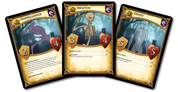 Prototype art shown above. Three examples of the undead characters created by Necromancers.