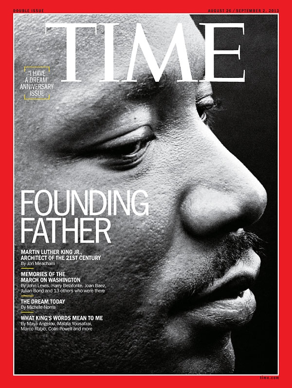 Cover of special commemorative issue of TIME magazine, profile portrait of King moments after his greatest speech 'I Have A Dream' by Dan Budnik