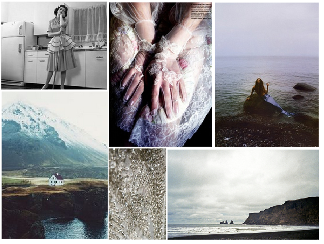 I will be developing my work based on the folklore and beliefs of the Icelandic people, here is a mood board for the tale of the 'Mermaid Wife' a folklore told in Iceland. I am currently studying this tale to develop a small clothing collection and photos