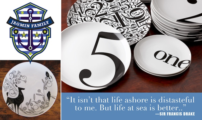 Above: Actual produced Number and Barbara dinnerware and sample of custom designed print made for you.