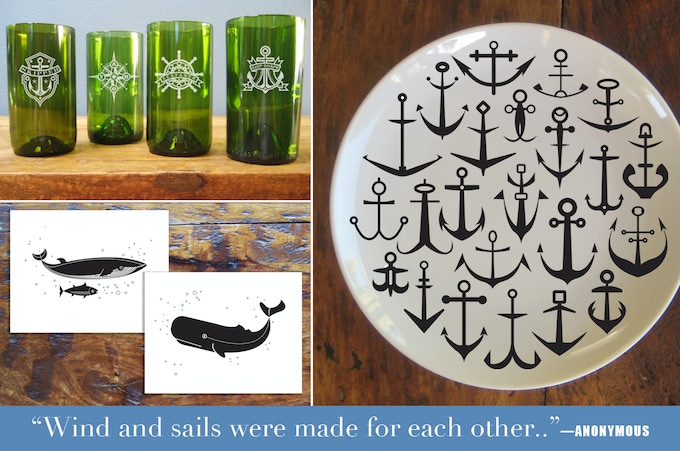Above: Prototypes of glassware (set of 4), prototype of Anchor serving plate, and pdf Whale prints.