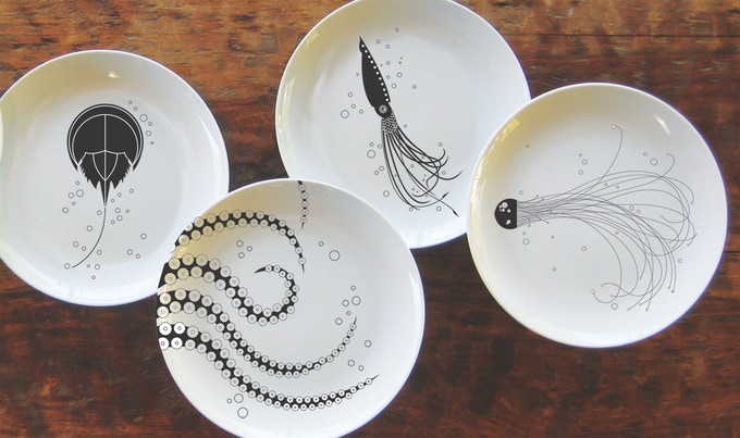 Above: Prototypes of Dinner Plates (Horseshoe Crab, Octopus, Squid, and Jellyfish)