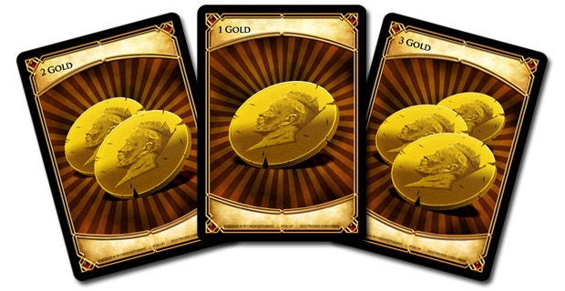 Prototype art shown above. The three gold cards found in the Gold Deck.