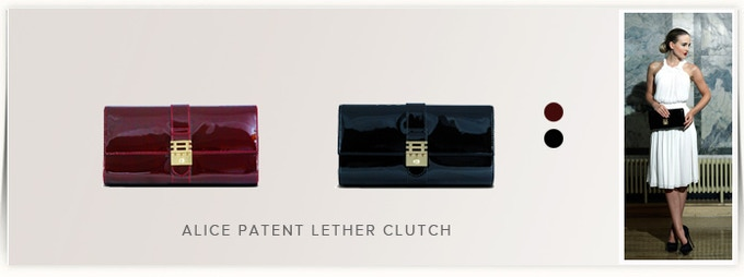 W28 x H16 x D5cm - Patent Leather - Available in Deep Red/Black