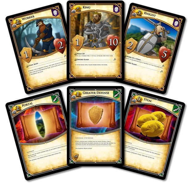 Prototype art shown above. The starting character cards and three scrolls found throughout the game of WarFields.
