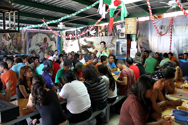 More than a hundred recently deported individuals at a migrant shelter in Nogales, Sonora, Mexico.