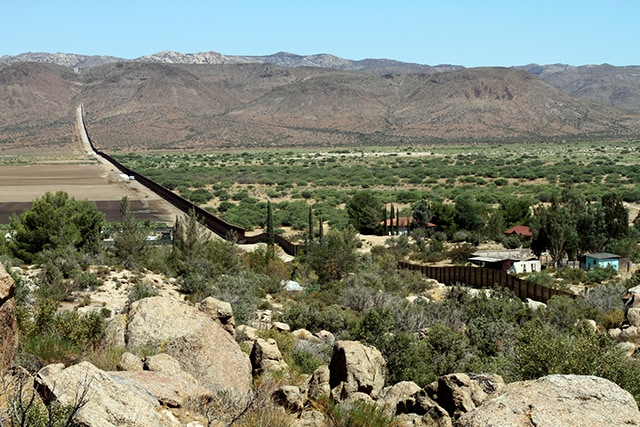 The Wall that divides the U.S. and Mexico, near Jacumba, CA.