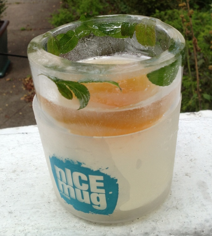 nICE tea with fresh mint frozen in the nICE mug.