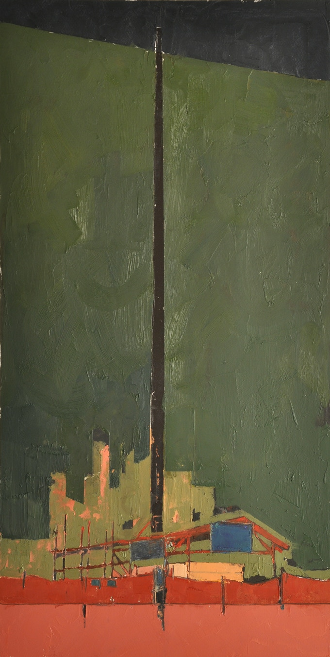 Construction Site (5), Oil, 29 x 15 inches