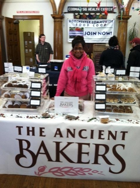 Tonya Claire Johnson, Head Ancient Baker at the Dorchester Winter Farmer's Market, January 2013.