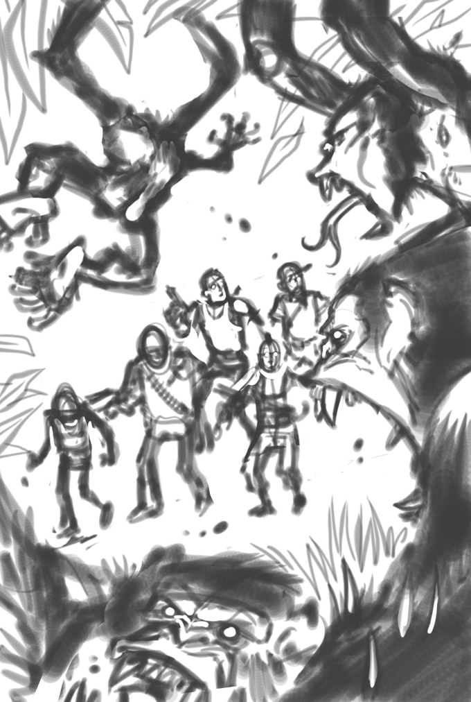 STAYING ALIVE AMONG THE BEASTS (Roughs stage) by Kennon James