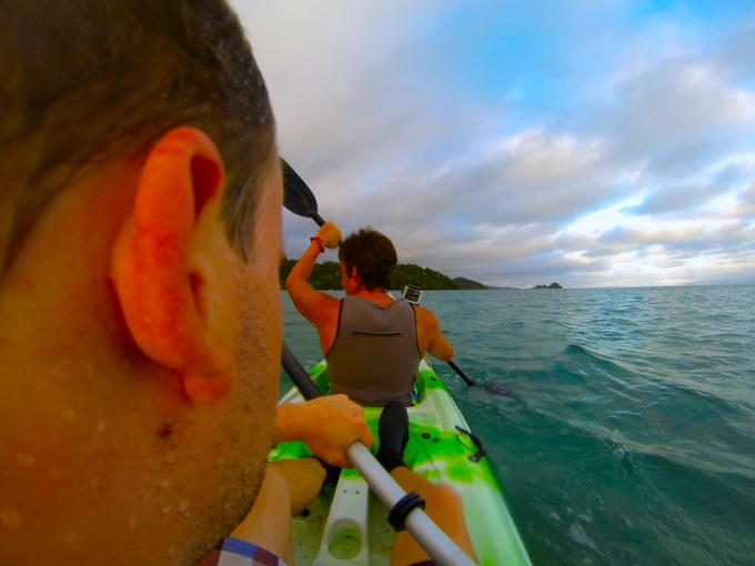 Wearing a GoVest™ Prototype as well as my friend while Kayaking in Fiji