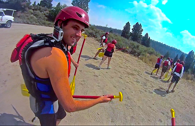 A happy Govest™ Prototype tester after capturing his white water rapids trip with a GoPro™ Hero3 Silver