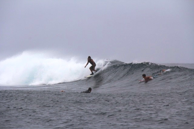 Wearing the Govest™ Prototype while surfing Pipes Break in Fiji