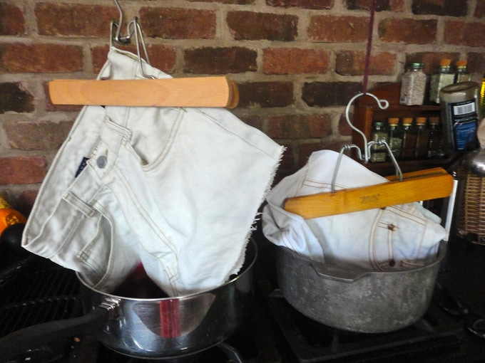 Wacky home methods for bleaching and dying the shorts. Crazy!