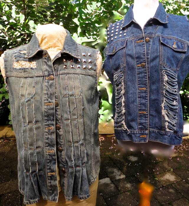Upcycled, one-of-a-kind denim vests for Stubborn Fall by Sophia Scanlan and Victoria Pero.