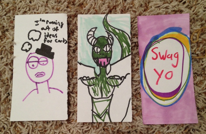 Rejects - hand drawn cards not good enough for the series, $15 pledge