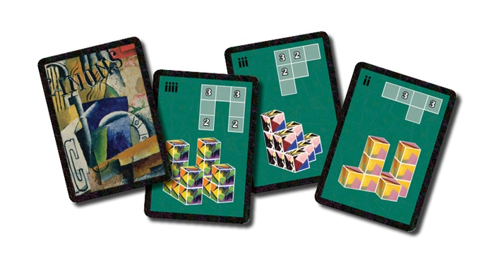 CUBIST Museum Cards. This photo shows one of each for a 2,3 and 4 player game (altogether there are 9 of these cards in the basic game).