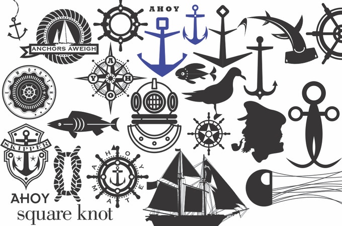 """Above: I draw my designs on the computer using the program, Adobe Illustrator. Here are a few drawings from my nautical """"sketchbook'. Below: Squid sketches."""