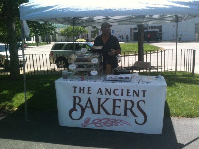 The Ancient Bakers Richard Peters at Northeastern University's Farmer's Market, April 2013.